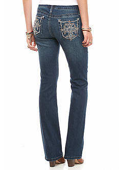 Earl Jean Cross Bling Pocket Boot Cut Jean