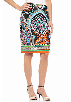 Sharagano Geo Printed Scuba Skirt