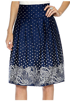 Sharagano Dot Floral Pleated Skirt