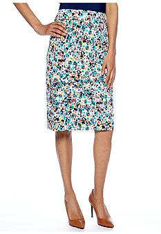 Sharagano Multicolor Printed Pencil Skirt