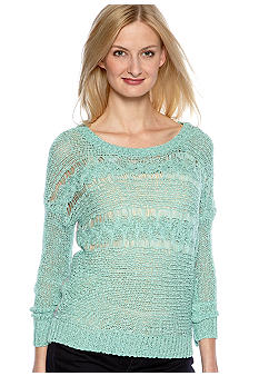 Nine West Vintage America Collection Perennial Open Weave Sweater