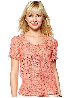 Nine West Vintage America Collection Kacy Lace Woven Peasant Top