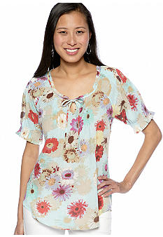 Nine West Vintage America Collection Mila Printed Peasant Top