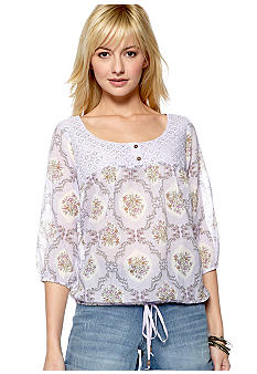 Nine West Vintage America Collection Hanna Floral Print Blouson Top with Lace Yoke