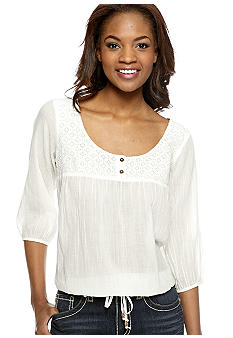 Nine West Vintage America Collection Hanna Lace Yoke Peasant Top