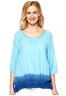 Nine West Vintage America Collection Dahlia Dip Dye Peasant Top