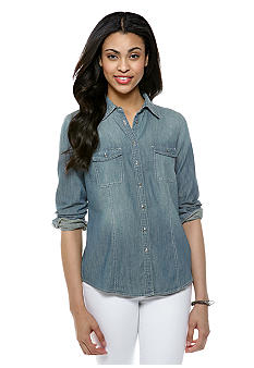 Nine West Vintage America Collection Denim Button Down Shirt