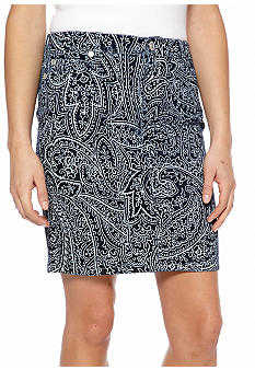 Nine West Vintage America Collection Paisley Floral Print Five Pocket Skirt