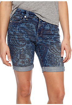 Nine West Vintage America Collection Paisley Print Cuffed Bermuda Short