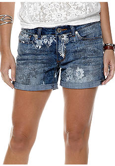Nine West Vintage America Collection Cuffed Floral Denim Short