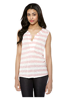 Nine West Vintage America Collection Hawaiian Ginger Stripe V-Neck Top