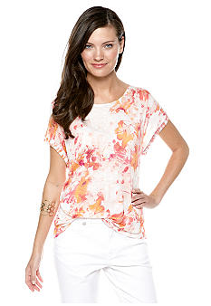 Nine West Vintage America Collection Boxy Floral Print Tee