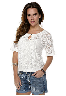 Nine West Vintage America Collection Cierra Lace Peasant Top