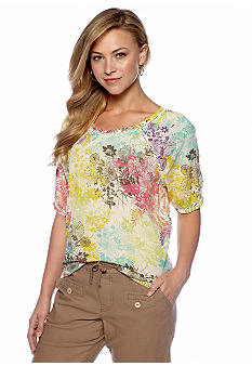 Nine West Vintage America Collection Jenna Printed Peasant Top