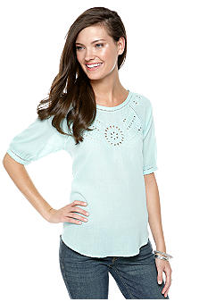 Nine West Vintage America Collection Jennie Eyelet Peasant Top