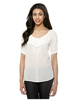Nine West Vintage America Collection Katie Embroidered Peasant Top