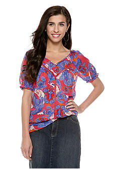 Nine West Vintage America Collection Katie Paisley Print Crochet Embellished Top