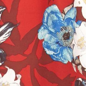 Cinco De Mayo Outfits: Venetian Red Swiss Vintage America Blues Kara Floral Print Blouse