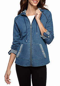 Ruby Rd Must Have Athleisure Blues Zip Front Denim Jacket