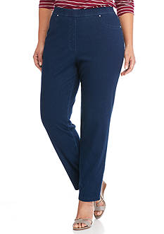 Ruby Rd Plus Size Well Traveled Knit Denim Pants