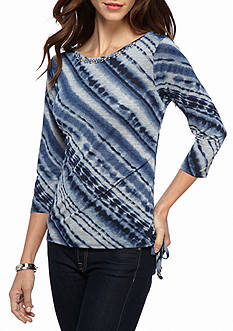 Ruby Rd Petite Rhythm and Blue Tie-Dye Ruched Knit Top
