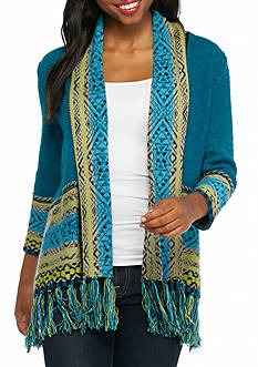 Ruby Rd Well Traveled Border Print Jacquard Cardi