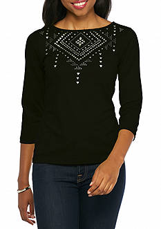 Ruby Rd Petitie Well Traveled Embellished Boat Knit Top