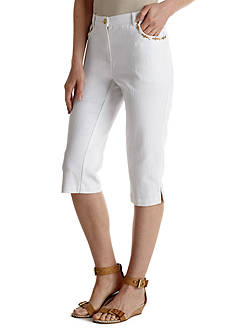 Ruby Rd Creme Brulee Embellished Pocket Capri
