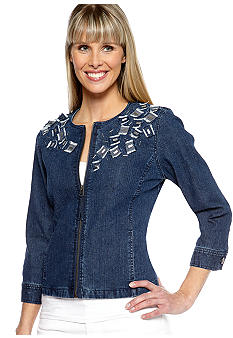 Ruby Rd Cruise Control Zip Embellished Jean Jacket