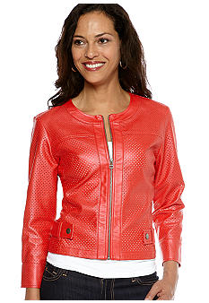 Ruby Rd Cruise Control Zip Metallic Leather Jacket