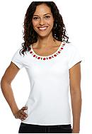 Ruby Rd wCruise Control Embellished Short Sleeve Ballet Neck Top