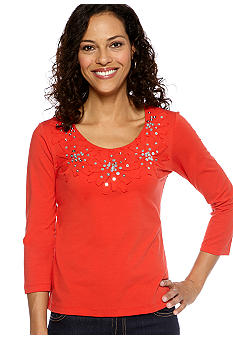 Ruby Rd Cruise Control Applique Embellished Solid Top