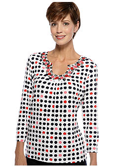 Ruby Rd Cruise Control Embellished Keyhole Ikat Dot Print Top