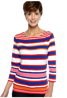 Ruby Rd Cruise Control Boat Neck Three Quarter Sleeve Stripe Top