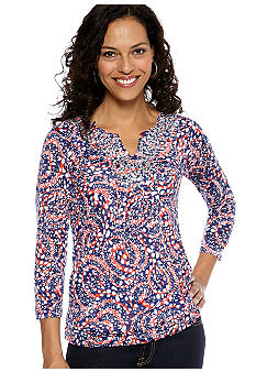 Ruby Rd Cruise Control Embellished Split Neck Dot Print Top