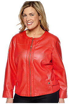 Ruby Rd Plus Size Cruise Control Zip Metallic Leather Jacket
