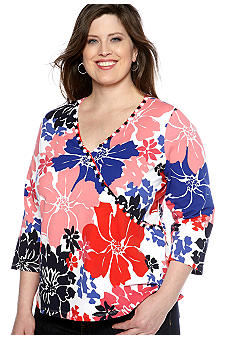 Ruby Rd Plus Size Cruise Control Mock Surplice Exploded Floral Knit Top