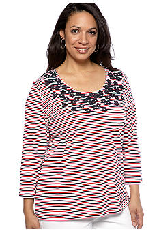 Ruby Rd Plus Size Floral Applique Stripe Knit Top