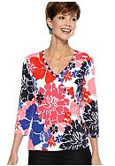 Ruby Rd Petite Cruise Control Embellished Floral Surplice Top