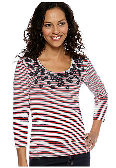 Ruby Rd Petite Cruise Control Flower Applique Stripe Top