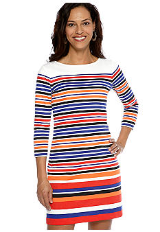 Ruby Rd Petite Cruise Control Stripe Ponte Dress