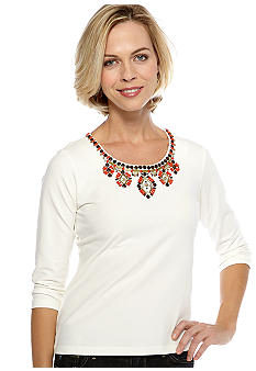 Ruby Rd The Great Escape Embellished Scoop Neck Top