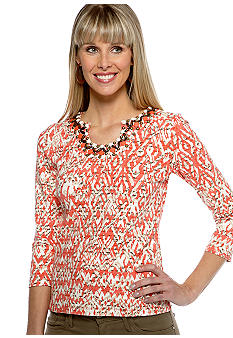 Ruby Rd The Great Escape Keyhole Scrip Print Top