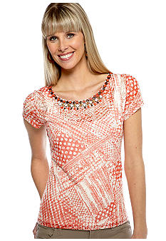Ruby Rd The Great Escape Embellished Top With Attatched Tank
