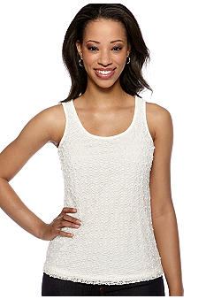 Ruby Rd The Great Escape Sleeveless Pom Overlay Tank