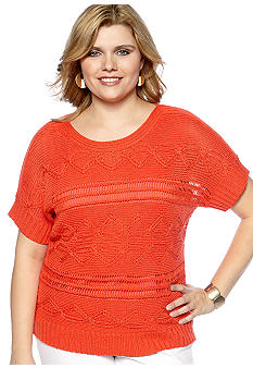 Ruby Rd Plus Size The Great Escape Short Sleeve Pullover Sweater