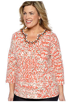 Ruby Rd Plus Size The Great Escape Keyhole Script Print Top