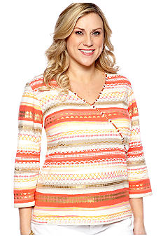 Ruby Rd Plus Size Mock Surplice Tribal Stripe Knit Top