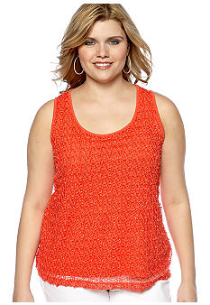 Ruby Rd Plus Size The Great Escape Sleeveless Pom Overlay Tank