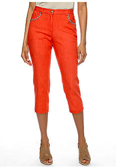 Ruby Rd Eye Candy Embellished Pocket Denim Capri